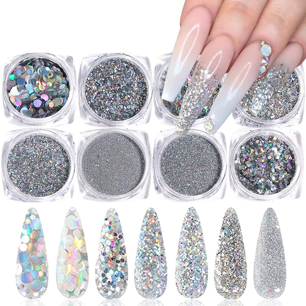Amazon Com Holographic Nail Glitter Sequins Nail Art Supplies 3d Nails Glitter Flakes Shiny Acrylic Nails Powder Dust Silver Nail Glitters Set For Nails Art Decoration Sparkle Manicure Tips Charms 8 Boxes Beauty