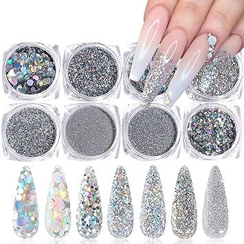 Fine holographic silver glitter sparkly nail art