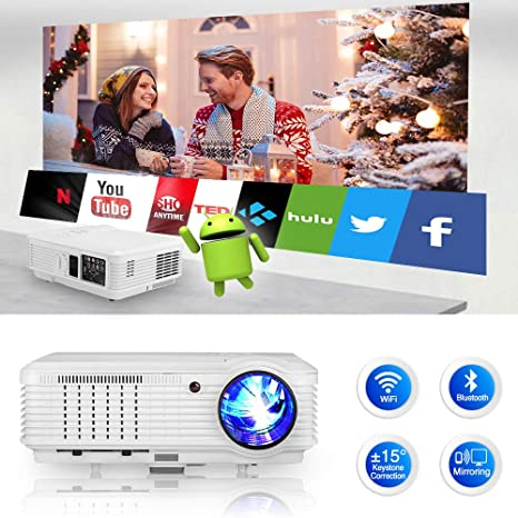Bluetooth Wireless HDMI Projector 1080P Video Projectors 4600 Lumen Smart Android 6.0 LCD LED Multimedia Beamer WiFi Proyector for PC Laptop TV Stick ...
