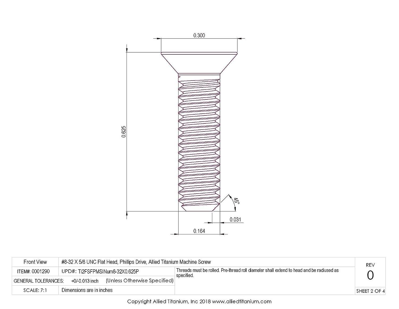 #8-32 X 5//8 UNC Flat Head Pack of 20 CP Titanium Machine Screw Grade 2 Phillips Drive Inc Allied Titanium 0001290, 611421001