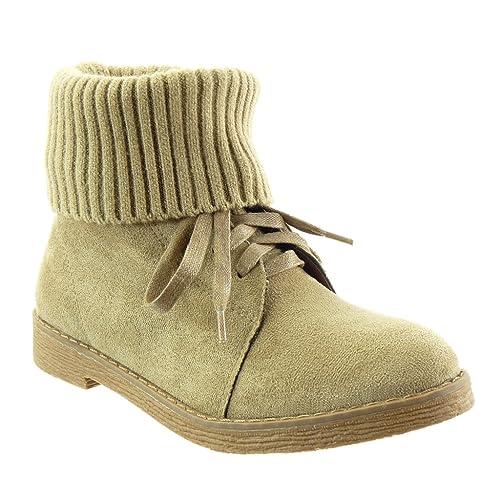 Angkorly - Zapatillas de Moda Botines Mujer Ganchillo Acabado Costura Pespunte Talón Tacón Ancho Alto 2.5 CM - Plantilla Forrada de Piel: Amazon.es: Zapatos ...