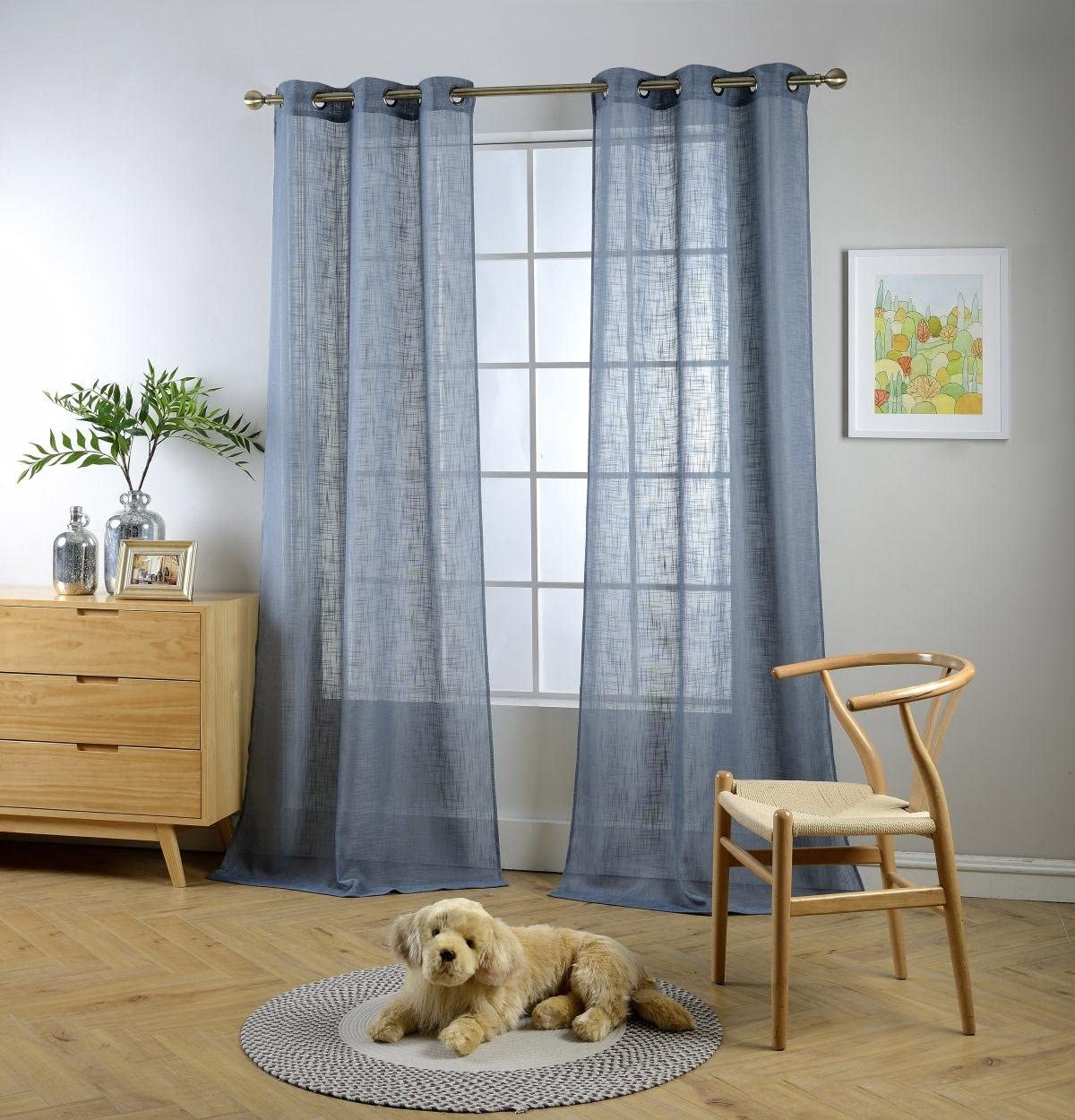 "MIUCO Semi Sheer Curtains Poly Linen Textured Solid Grommet Curtains 84 Inches Long for Living Room 2 Panels (2 x 37 Wide x 84"" Long) Dusty Blue"