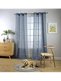 miuco semi sheer curtains poly linen textured solid grommet curtains 84 inches long for living room