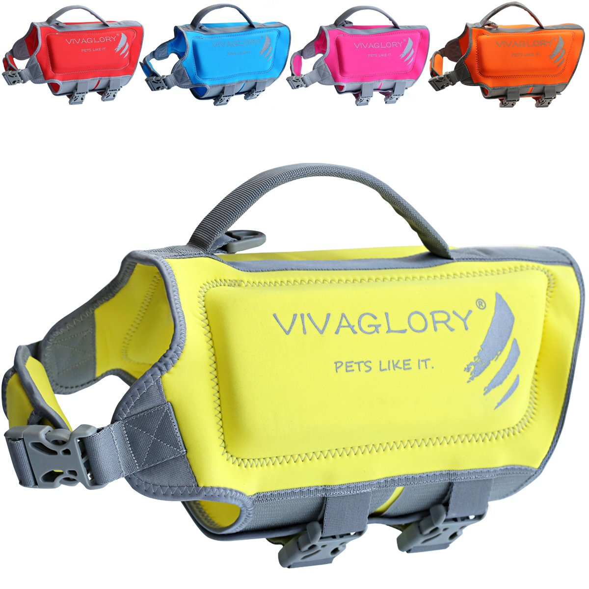Vivaglory Skin-Friendly Dog Life Vest, Neoprene Life Jacket for Dogs with Superior Buoyancy and Rescue Handle, Lemon Yellow, Small