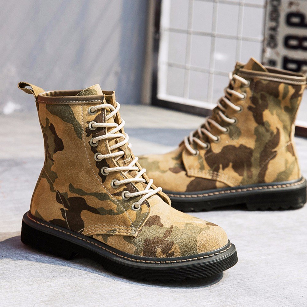 Modemoven Women's Round Toe Lase-up Ankle Boots Ladies Leather Combat Booties Fashion Martens Boots B0773BGXZ8 6.5 B(M) US Yellow Camouflage