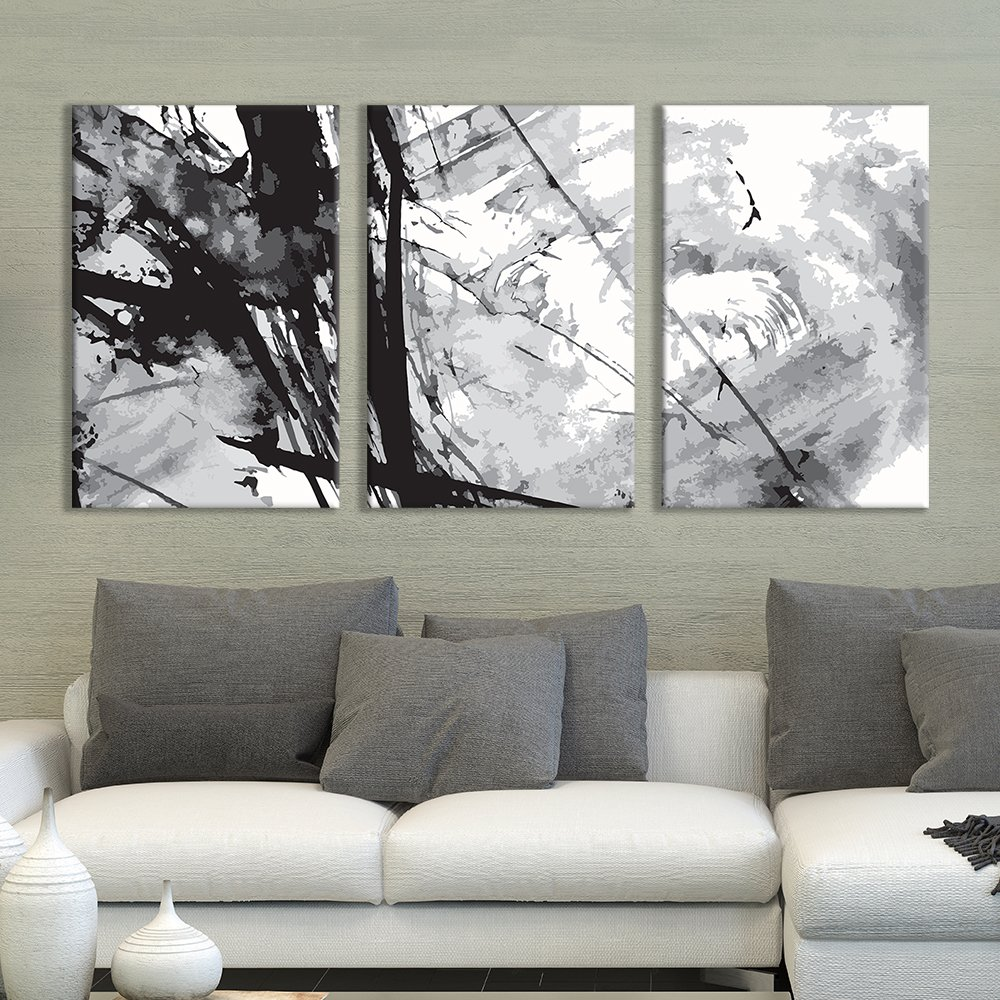 """wall26 - 3 Panel Canvas Wall Art - Black Cloud Abstract Heavy Splattered Brush Stroke Painting - Giclee Print Gallery Wrap Modern Home Decor Ready to Hang - 16""""x24"""" x 3 Panels"""