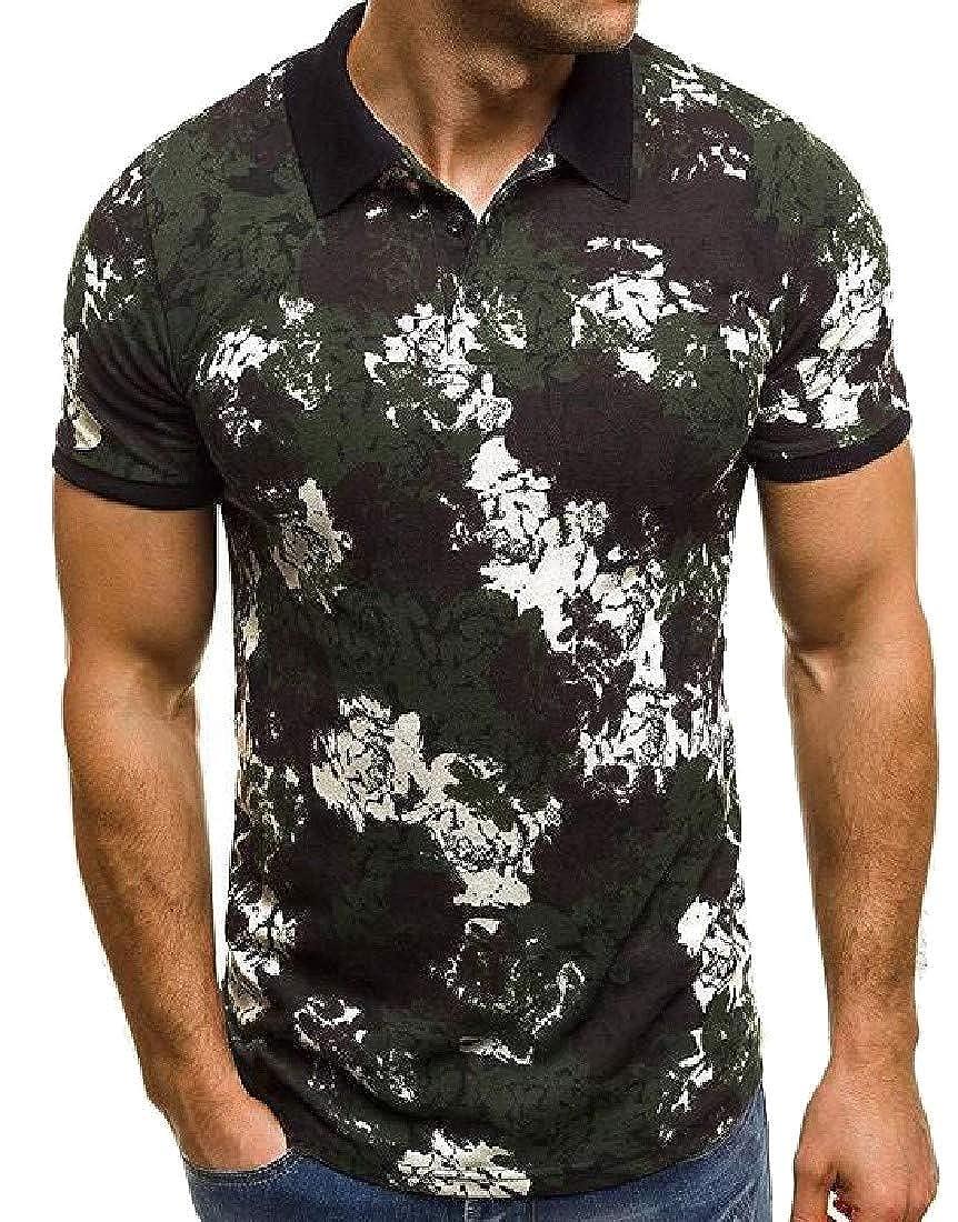 Easonp Men Lapel Print Short-Sleeve Slim Fit Camouflage Perfect Polo Shirt