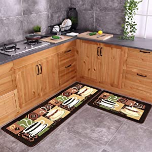 "Carvapet 2 Piece Non-Slip Kitchen Mat Rubber Backing Doormat Runner Rug Set, Coffee (19""x59""+19""x31"")"