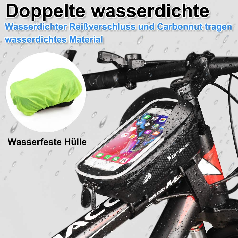 Waterproof Bicycle Bag Bike Pouch Bag with TPU Touchscreen LANTIAN Bike Frame Bag Bicycle Large capacity storage bag with Headphone Hole for any Smart Phone Below 6.5 inch