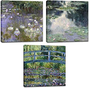 Innopics 3 Large Claude Monet Famous Painting Reproduction Canvas Giclee Print Garden Bridge Water Lily Pond Impressionist Artwork Classic Home Wall Art Decor Framed for Living Room Office Decoration