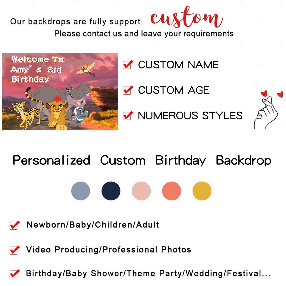 Margelife Replacement for Lion King Party Backdrop Supplies Decoration Nur.135 Customized Personalized Banner for Birthday Decor
