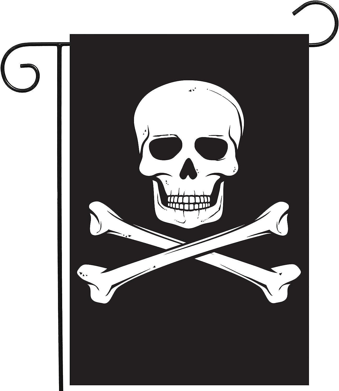 ShineSnow Biker Pirate Jolly Roger Skull Garden Yard Flag 12
