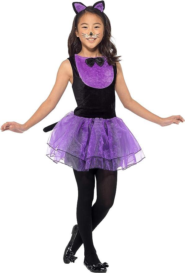 Smiffys 49835S - Disfraz de gato para niña, color negro y morado ...