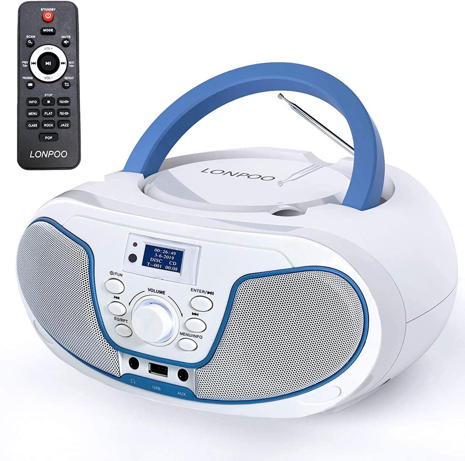 Lectores de CD portátiles,Radio CD / MP3 Portátil Reproductor CD con Bluetooth/FM/USB/AUX-IN/Salida de Auriculares/Estéreo Altavoz (LP-D02 Dab+)