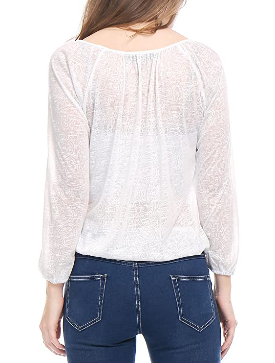 Allegra K Blusa Para Mujer Patrón De Paisley Tasseled Jacquard Corbatas - Blanco/XS (US 2, EU 32): Amazon.es: Ropa y accesorios