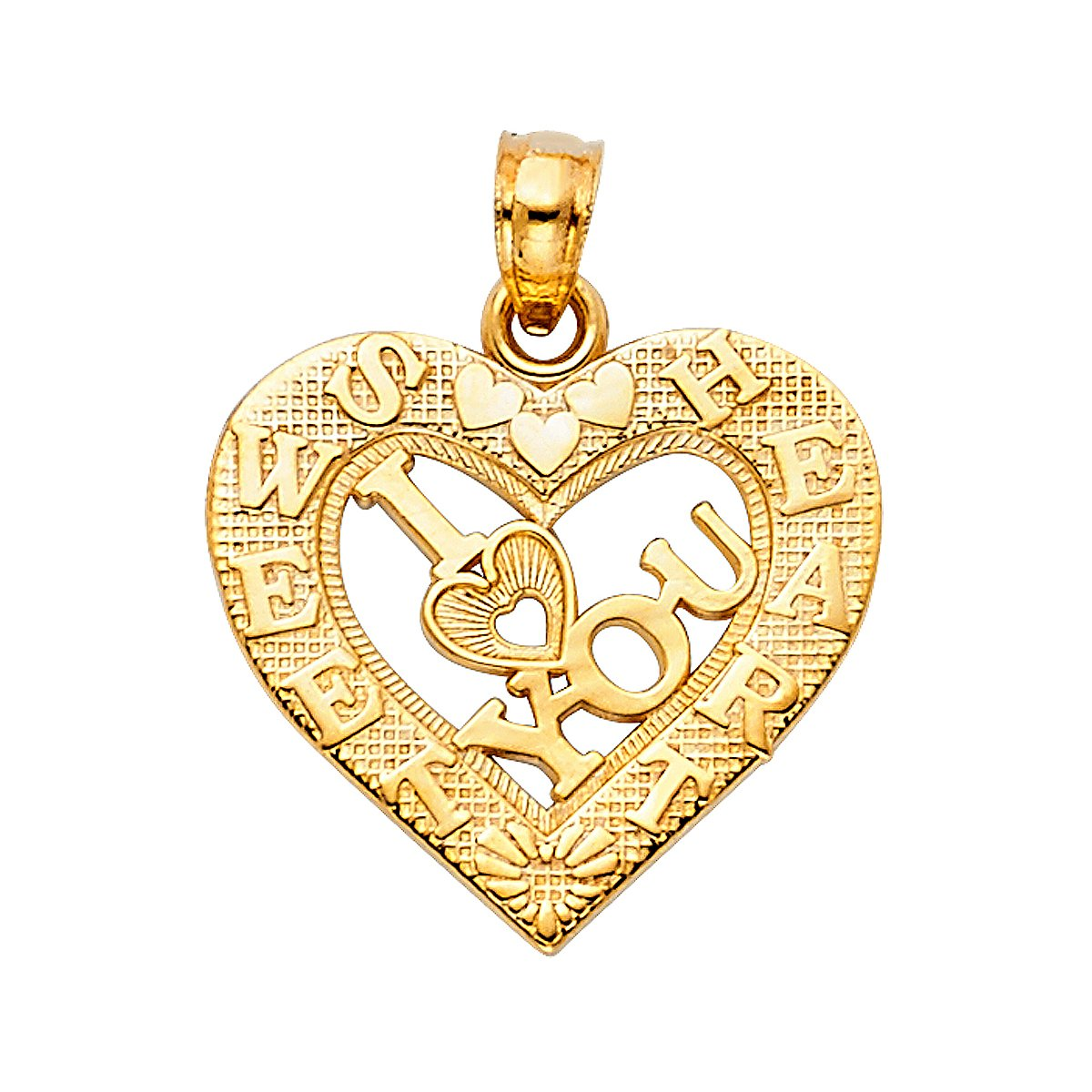 Height 17 MM Width 19 MM TGDJ 14K Yellow Gold I Love You Heart Pendant