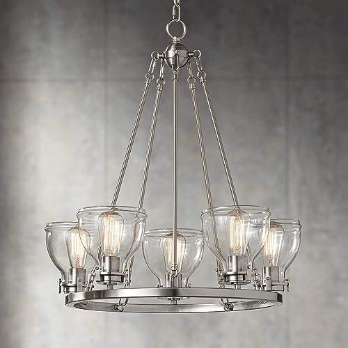 Bellis Brushed Nickel Round Pendant Chandelier 24 1/2″ Wide Modern Industrial Clear Glass 5-Light Fixture