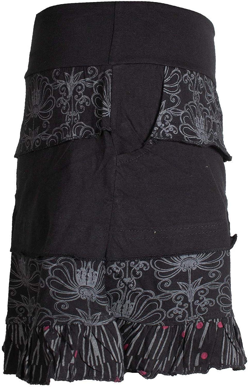 Damen Patch-Work R/üschen-Rock Breiter Dehnbarer Bund und Taschen Vishes Alternative Bekleidung