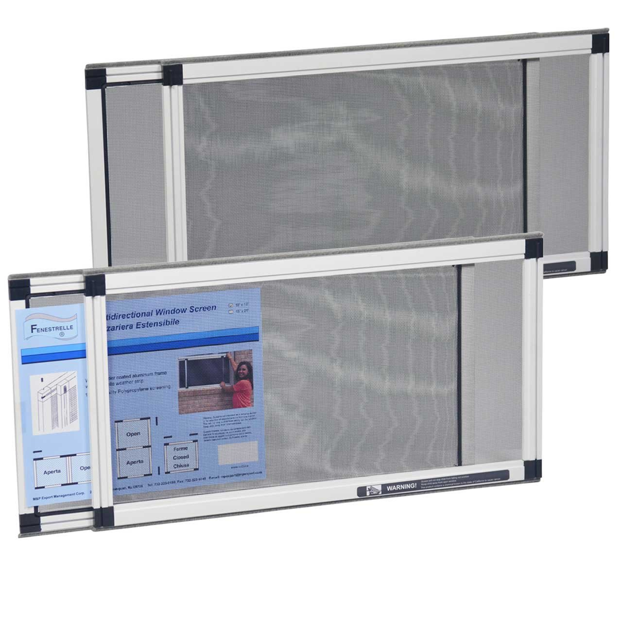 Fenestrelle Adjustable Window Screen, 2 Way Adjustable, Horizontal (10'' x19-36 w) Or Convert to Vertical (19'' x10-18 w) - 2 Pack