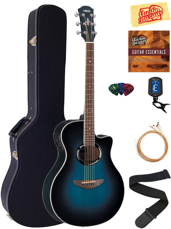 Yamaha APX500 Thinline Cutaway Acoustic-Electric Guitar - Oriental Blue Burst Bundle with Hard Case, Tuner, Strings, Strap, Picks, Austin Bazaar Instructional DVD, and Polishing Cloth