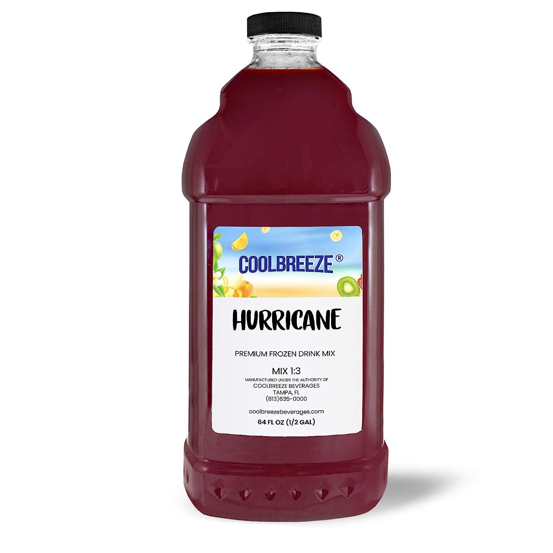 Coolbreeze Beverages Frozen Drink Flavor Mixes - Frozen Beverage Machine or Home Blender Use - Ready To Use Margarita Daiquiri Granita Slush Bar Mixers - 1/2 Gallon Bottle (Hurricane)