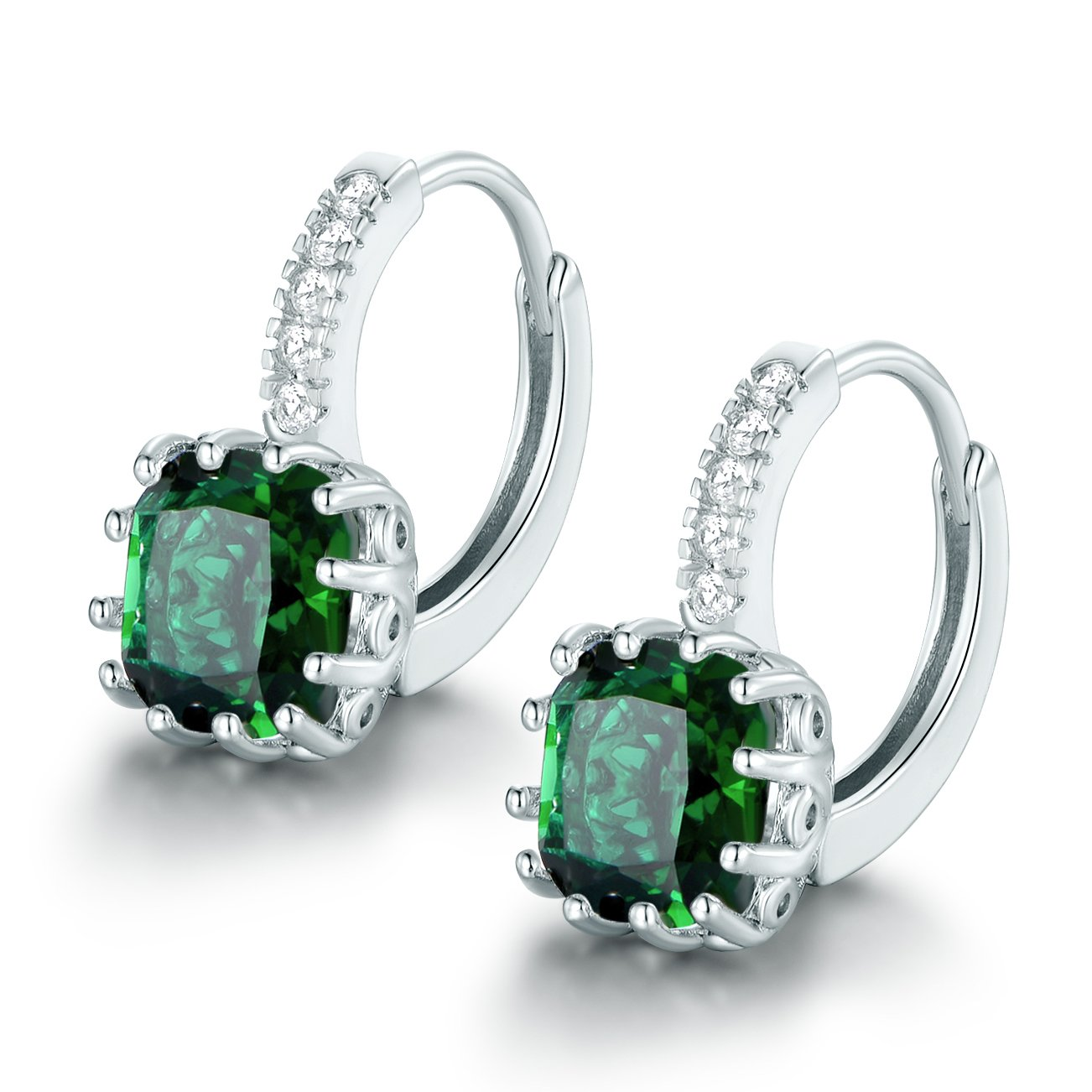 e603824e7 Details about 925 Sterling Silver Princess Cut Emerald Green Crystal  Rhinestone Drop Earrings