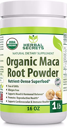 Herbal Secrets USDA Certified Organic Maca Root Powder- 16 oz 1 lb – GMO Free- Supports Healthy Mood, Hormonal Balance, Cardiovascular Health Immune Health