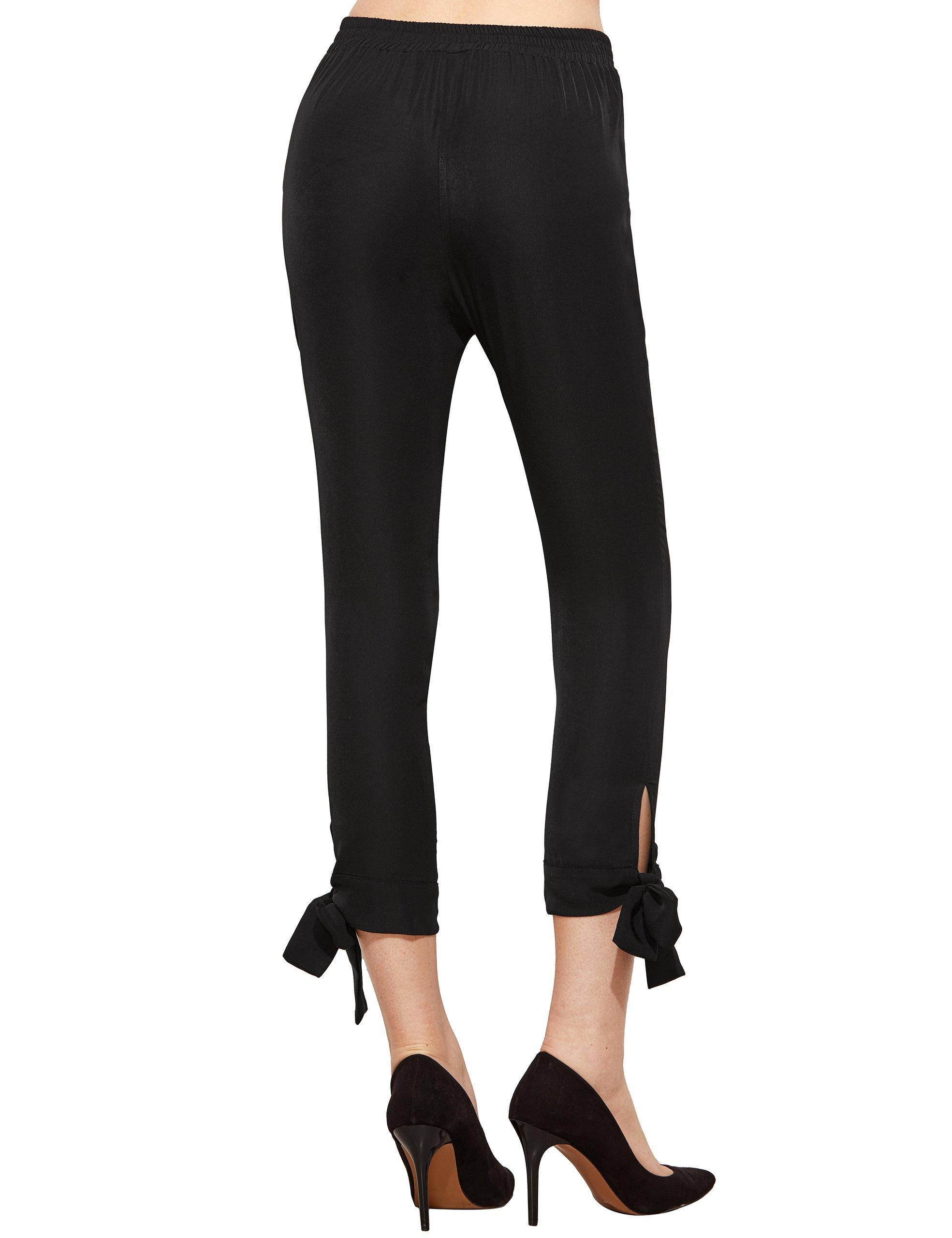 SheIn Women's Elastic Waist Comfy Bow Tie Hem Crop Skinny Pants with Pockets Small Black by SheIn (Image #3)