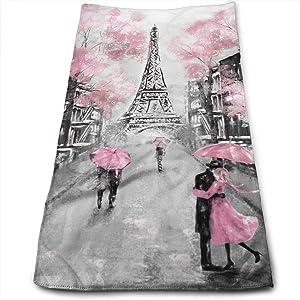 Oil Painting Black White Paris Eiffel Tower Hand Towels Bathroom Soft Couple Under Pink Umbrella Bath Towel Absorbent Kitchen Dish Towel Home Decor 27.5'' X 12''