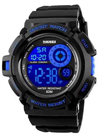 27152d5ba Mens Digital Sports Watches - Outdoors 50M Waterproof Military Chronograph  Watch, Sport Running Wrist Watch