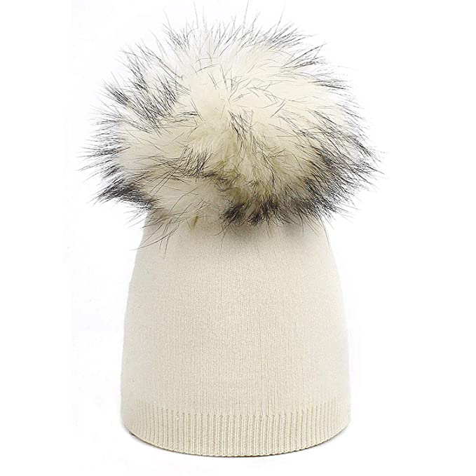 a558f71fa9a Amazon.com  Children s Knit Beanie Hat Dyeing Raccoon Fur Pom Pom Winter  Hat Boy Girl Warm Skullies Bone Brand Kids  Clothing