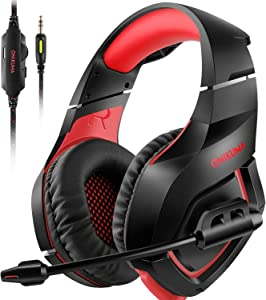 ONIKUMA Stereo Gaming Headset for PS4 Xbox One, Over Ears Headset with Noise Canceling Microphone for Nintendo Switch PlayStation 4 Laptop Smartphones and PC 3.5mm
