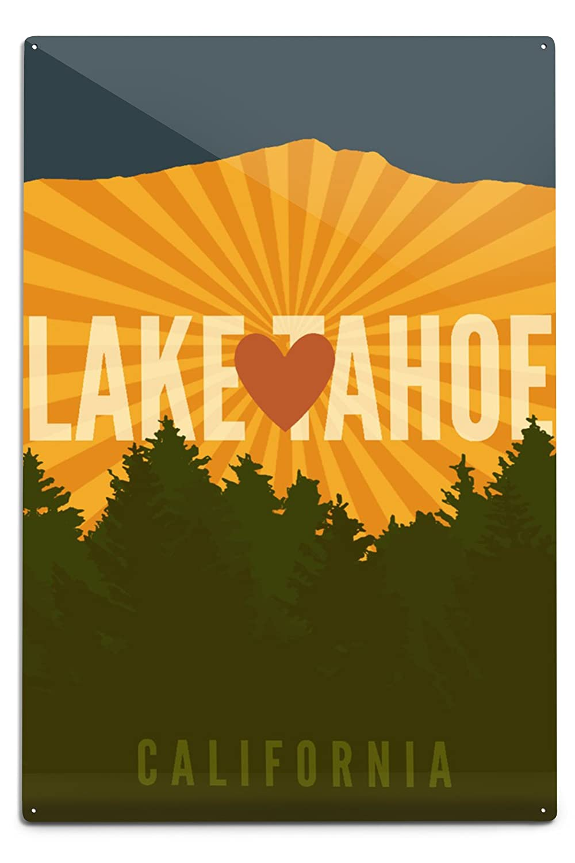 Lake Tahoe、カリフォルニア – ハートと山 Canvas Tote Bag LANT-75769-TT B06Y12FLTN  12 x 18 Metal Sign 12 x 18 Metal Sign
