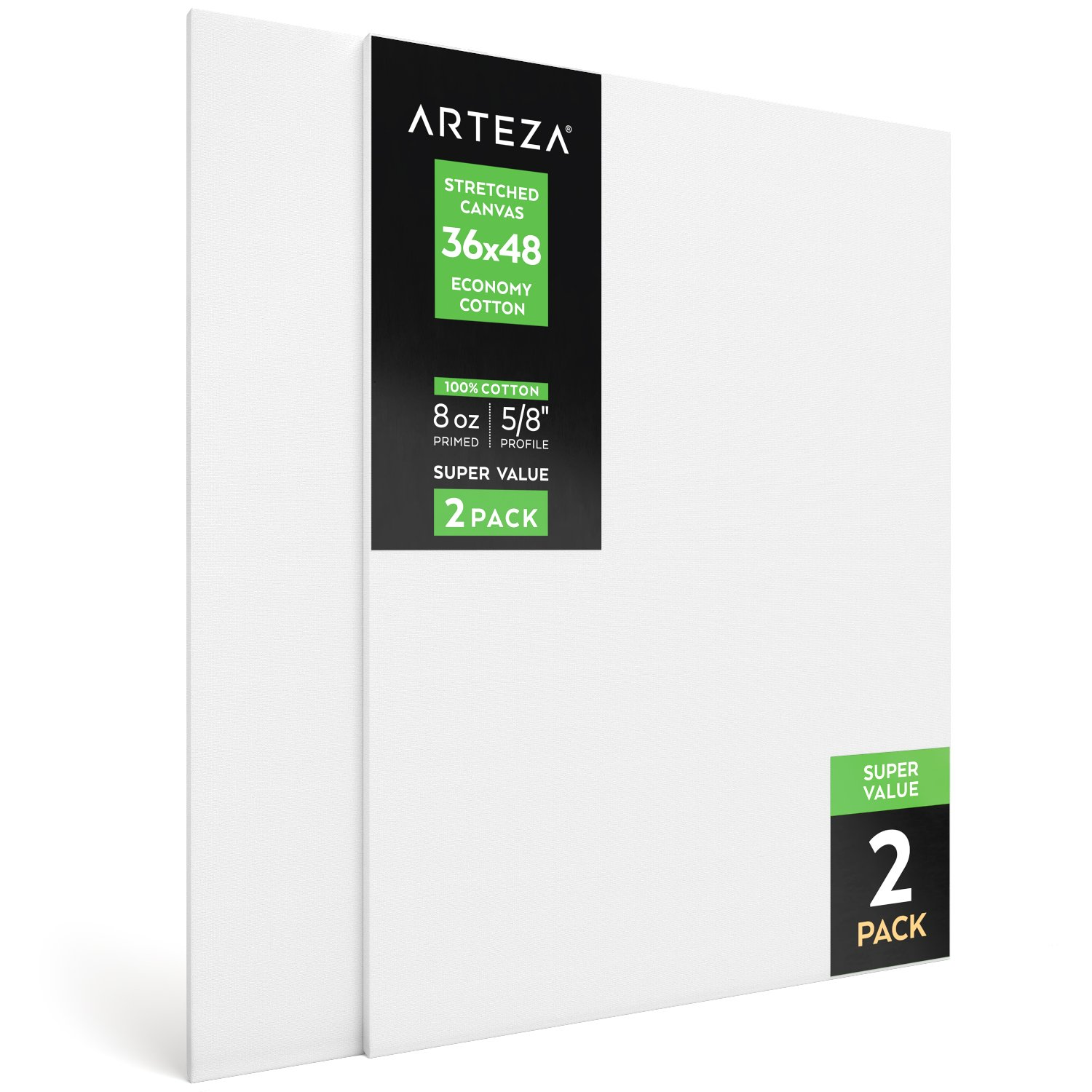"""Arteza 36x48"""" Stretched White Blank Canvas, Bulk Pack of 2, Primed, 100% Cotton for Painting, Acrylic Pouring, Oil Paint & Wet Art Media, Canvases for Professional Artist, Hobby Painters & Beginner"""