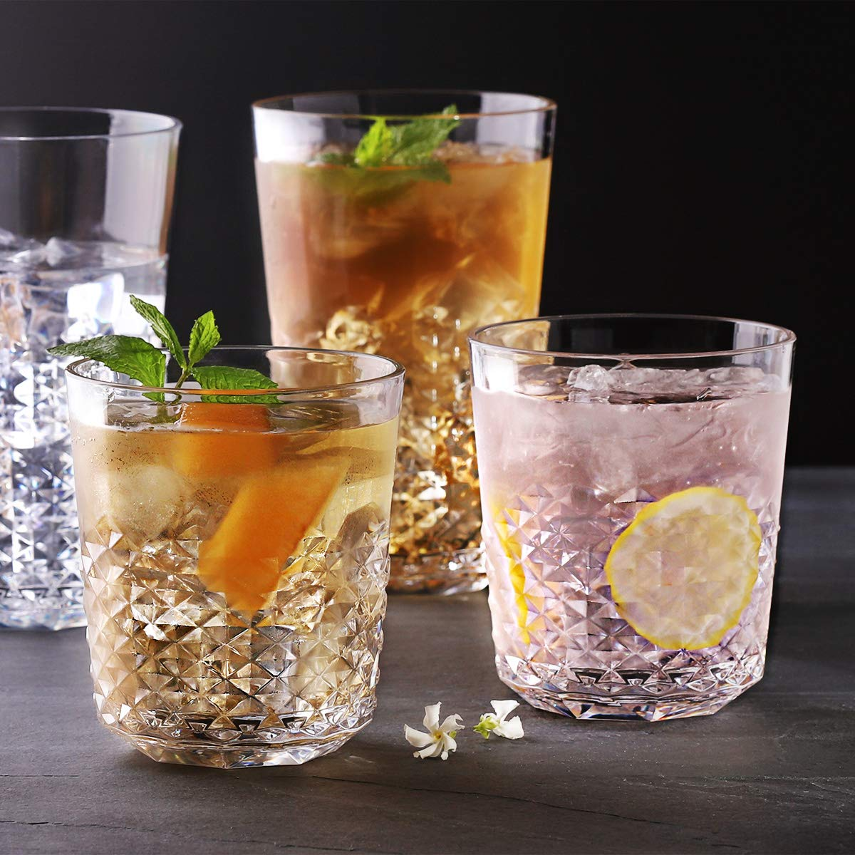 Cupture Diamond Plastic Tumblers BPA Free, 24 oz / 14 oz, 8-Pack (Clear) by Cupture (Image #8)