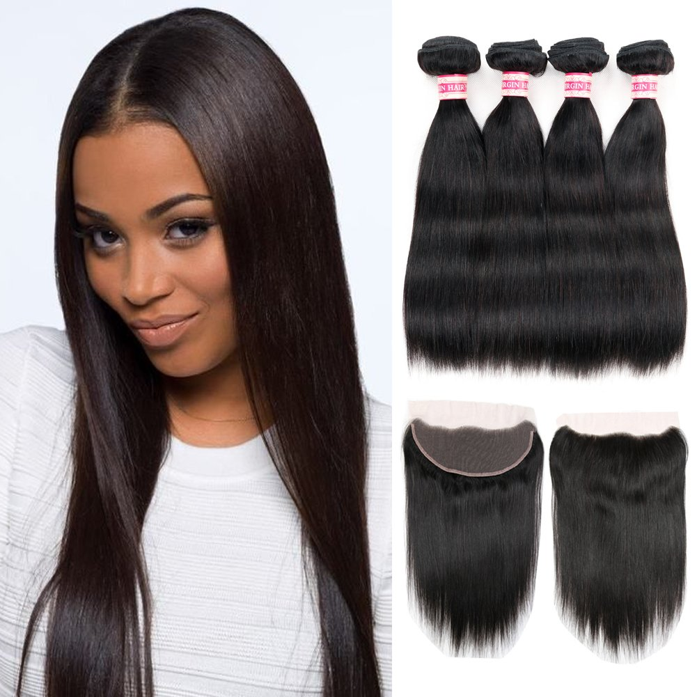 Amazon Fabeauty 7a Human Hair Extensions 4 Bundles With Lace