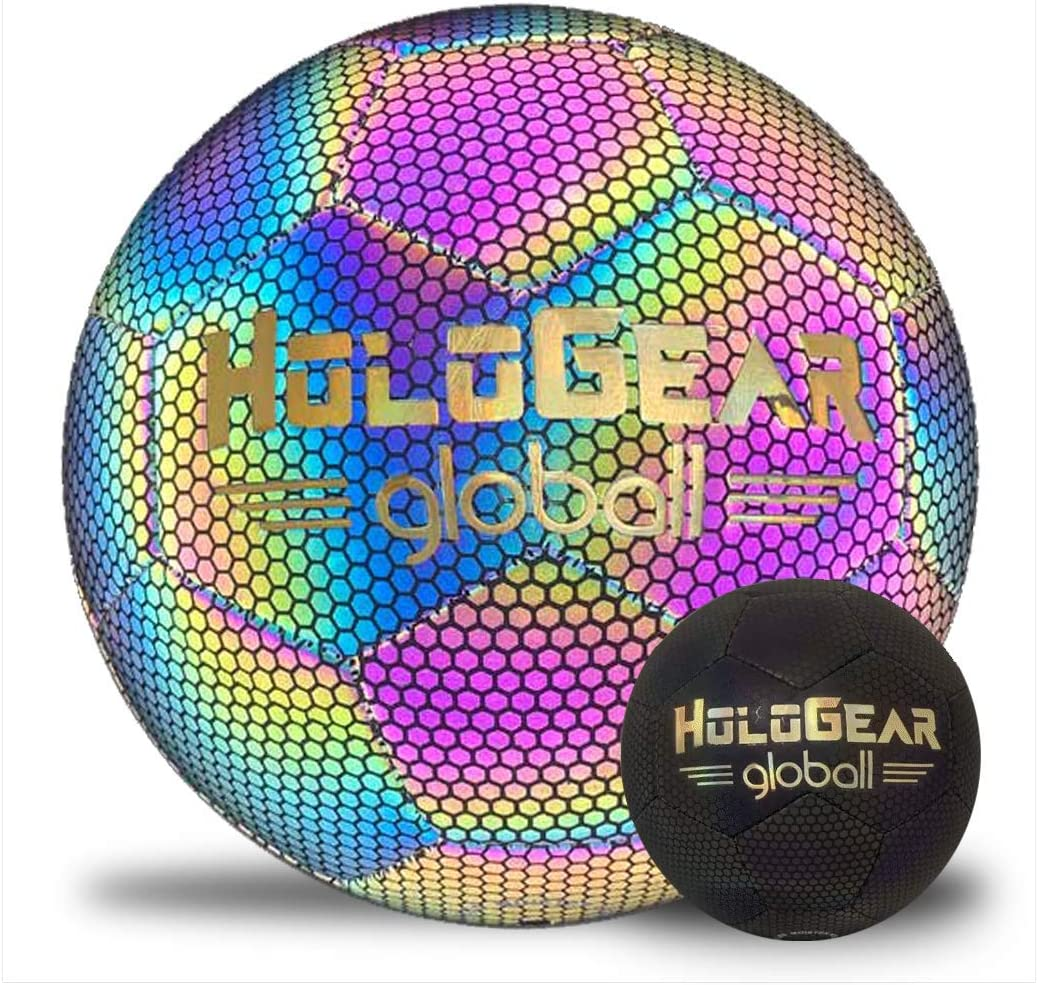 HoloGear Holographic Glowing Reflective Soccer Ball - Light Up with Camera Flash, Glow in The Dark Soccer Balls - Gifts Toys for Kids and Boys - Perfect Toy for Night Game