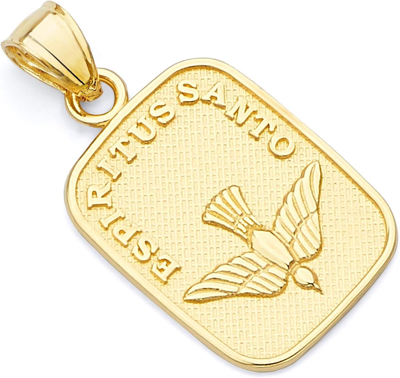 Wellingsale 14K White Gold Polished Diamond Cut Religious Holy Spirit DoveEspiritus Santo Charm Pendant