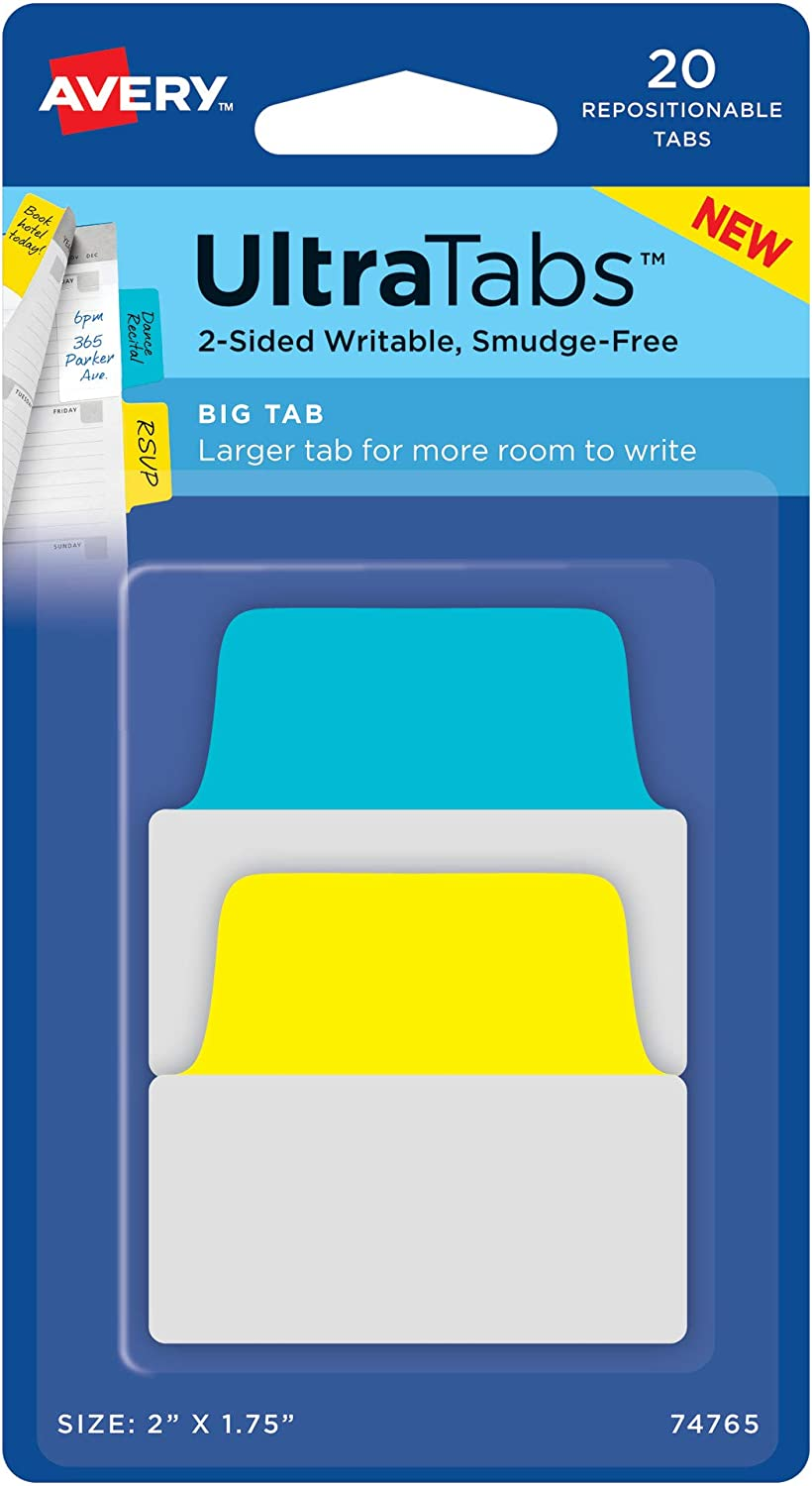 """Avery Big Ultra Tabs, 2"""" x 1.75"""", 2-Side Writable, Yellow/Blue, 20 Repositionable Tabs (74765)"""