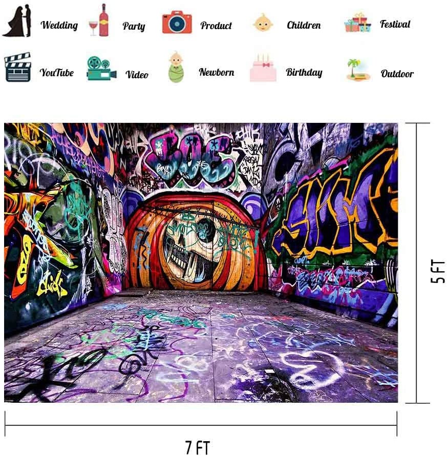 Graffiti Wall Backdrop for 80s 90s Party 7x5ft Background Decorations Photo Booth Studio Props LSVV707