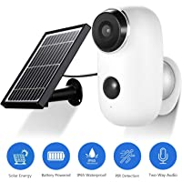 JOOAN 1080P HD Rechargeable Battery&Solar Panel Powered Indoor Outdoor Wireless WiFi Home Security Camera Wire-Free with 2-Way Audio Super Night Vision PIR Motion Sensor
