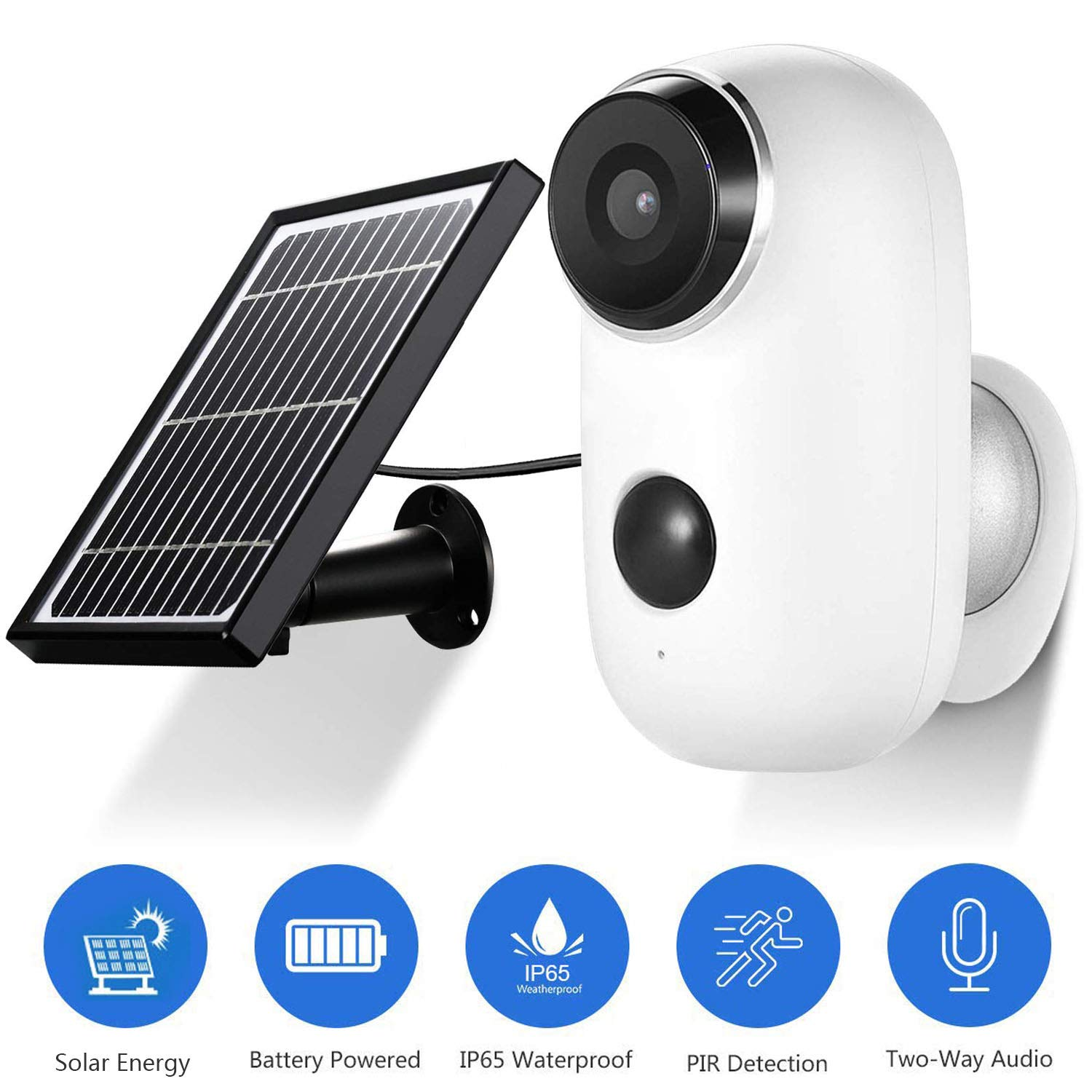 Wireless Solar Powered Security Camera 1080P Abowone Rechargeable Battery Powered Camera 2.0MP WiFi Camera Wire-Free Waterproof Indoor Outdoor Two-Way Audio PIR Sensor Body Detection HD Night Vision