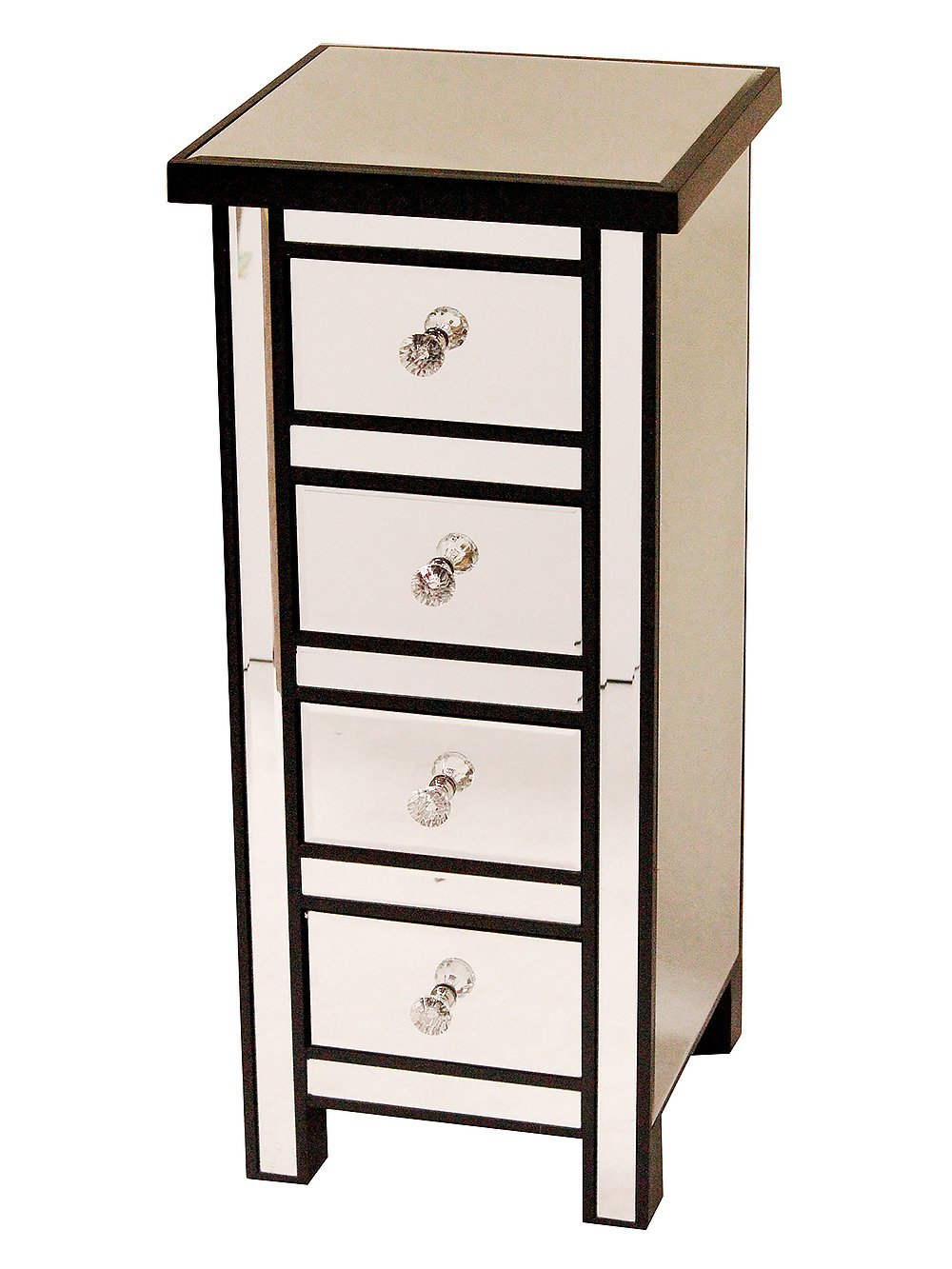 Heather Ann Creations Handcrafted Wood with Beveled Mirror Finish 4 Drawer Storage Chest Console, 31.5''