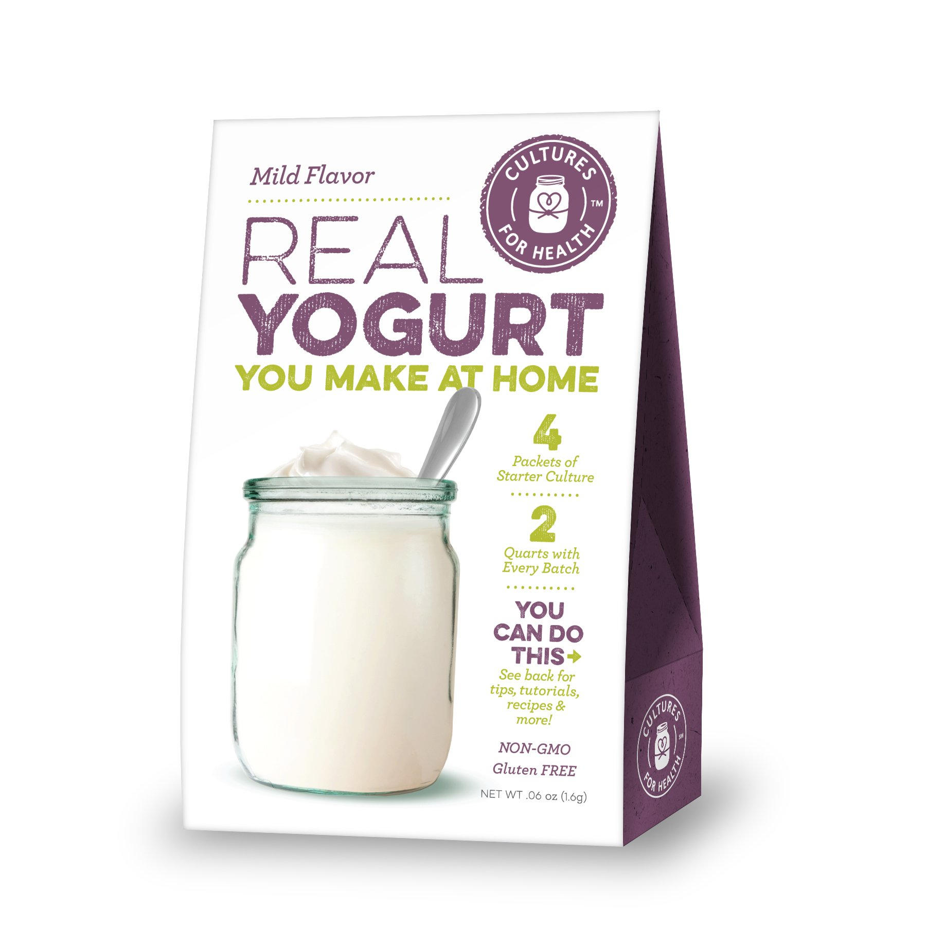 Cultures For Health Mild Flavor Yogurt Starter | Non GMO, Gluten Free | Makes Mild Flavor Yogurt | 4 Sachets In A Box