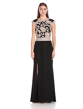 7929016a81 Tadashi Shoji Women s Cap-Sleeve Crepe Dress with Peony Lace Bodice and  Open Back and