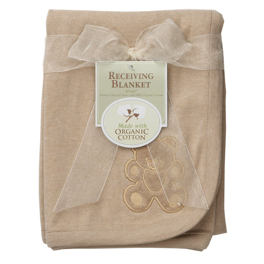 American Baby Company 13307 Organic Embroidered Receiving Blanket (Mocha)