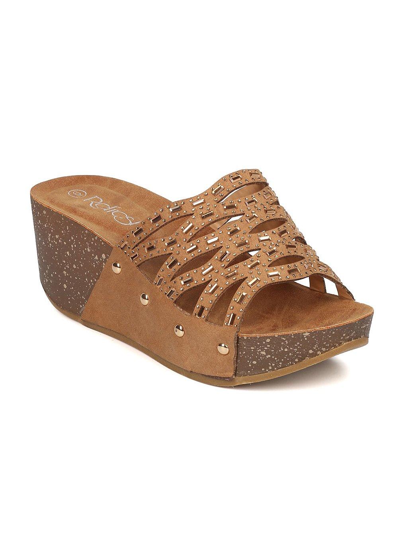 Alrisco Women Faux Suede Open Toe Rhinestone Cutout Platform Wedge Sandal GI44 - Tan Faux Suede (Size: 8.0)