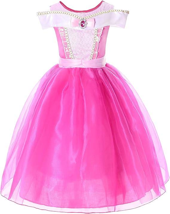 JerrisApparel Niña Princesa Aurora Disfraz Vestir Bella Durmiente ...