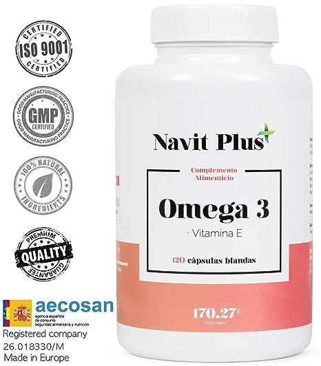 Omega 3 Ácidos grasos + Vitamina E. Alta dosis de EPA 700 mg y DHA 500 ...