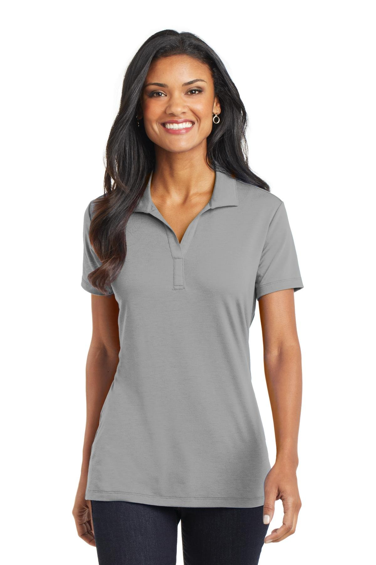 Port Authority L568 Women's Cotton Touch Performance Polo Frost Grey Small